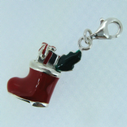 Sterling Silver clip on enamelled christmas stocking charm